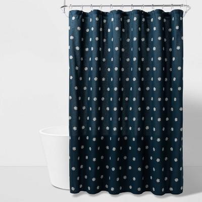 Flower Dot Printed Shower Curtain Blue - Threshold™