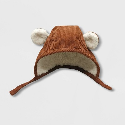 Baby Boys' Critter Bonnet with Sherpa and Ears Hat - Cat & Jack™ Brown 6-12M
