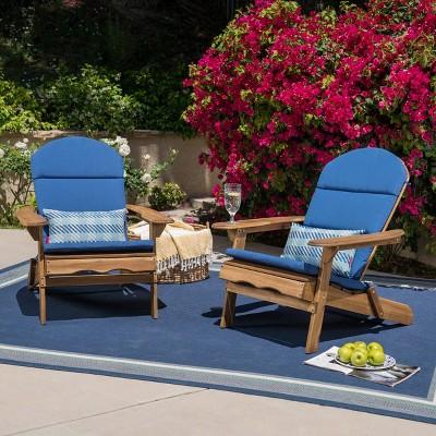 Malibu 2pk Acacia Wood Adirondack Chairs - Natural - Christopher Knight Home