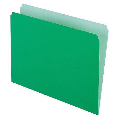 Pendaflex® Two-Tone File Folders, Straight Cut, Top Tab, Letter, Green/Light Green, 100/Box - image 1 of 1