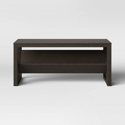 Fairfax Wood Coffee Table With Angled Shelf Brown Threshold