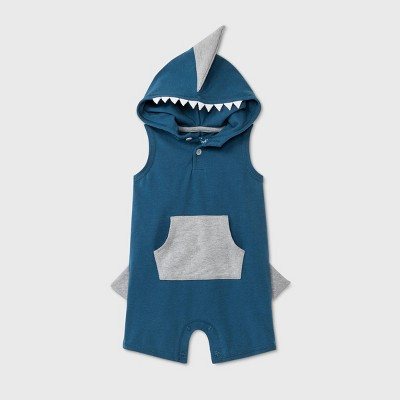 Baby Boys' Shark Short Romper - Cat & Jack™ Blue 0-3M