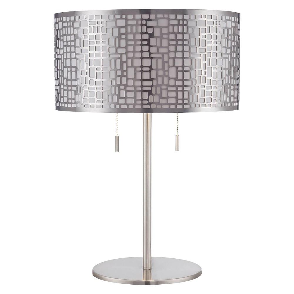 Lite Source Torre 2 Light Table Lamp - Polished Steel, Silver/Grey