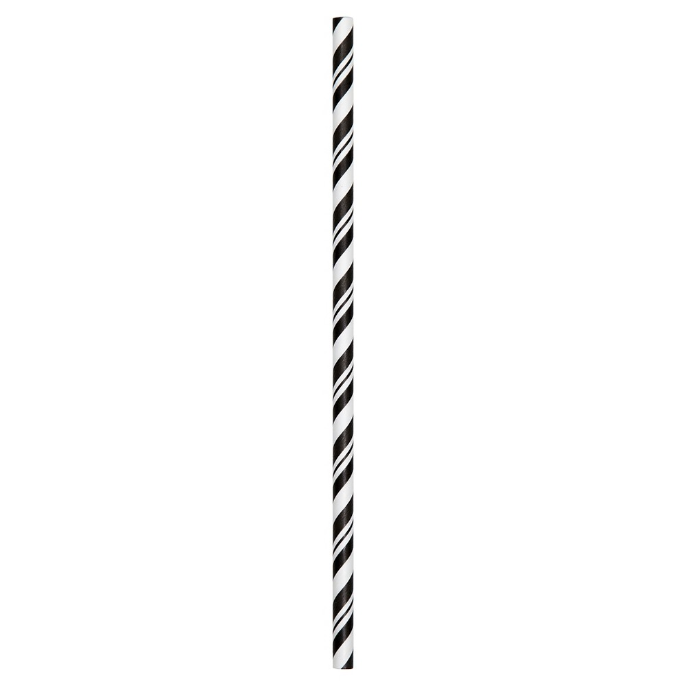 24ct Black and White Stripe Paper Straws