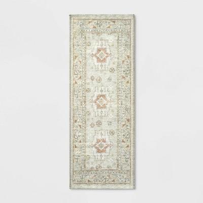 "22""x60"" Printed Persian Kitchen Runner Natural - Threshold™"