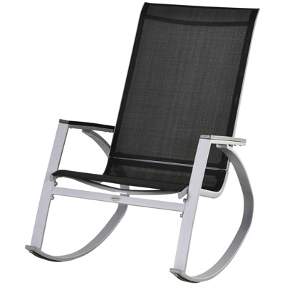Outsunny Outdoor Modern Front Porch Patio Rocking Sling Chair - Black / Silver