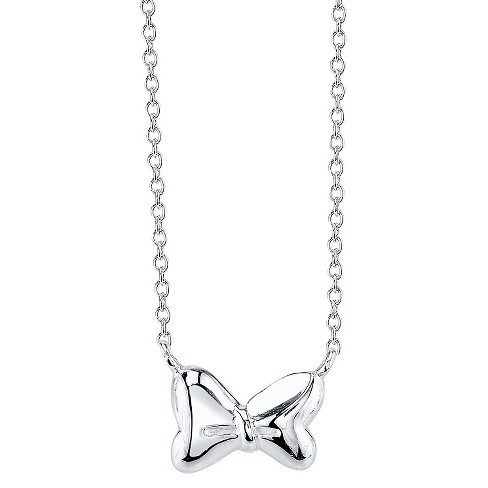 "Disney® Sterling Silver Minnie Bow Necklace Silver (18.32"") - image 1 of 1"