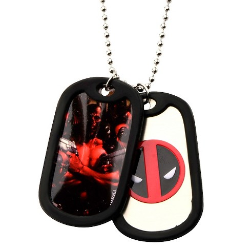 "Men's Marvel® Deadpool Double Stainless Steel Dog Tag and Rubber Silencers (22"") - image 1 of 1"