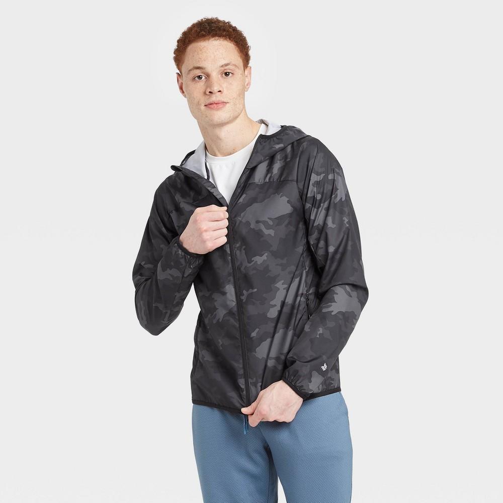 Men's Camo Print Packable Windbreaker Jacket – All in Motion Black Camo S, Men's, Size: Small, Black Green