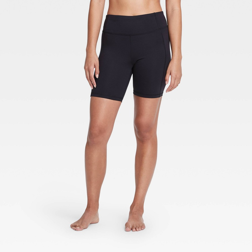 Women 39 S Contour Power Waist High Rise Shorts 7 34 All In Motion 8482 Black Xs