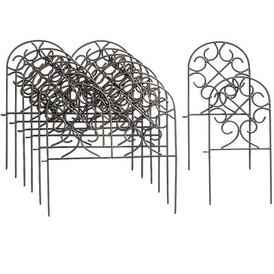 Plow & Hearth - Wrought Iron Heavy Duty Outdoor Garden Edging with Scroll Design