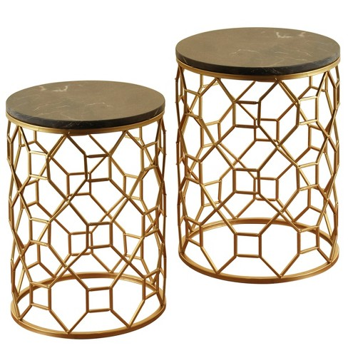 Set of 2 Round Marble Side Tables - Gold - Stylecraft - image 1 of 3