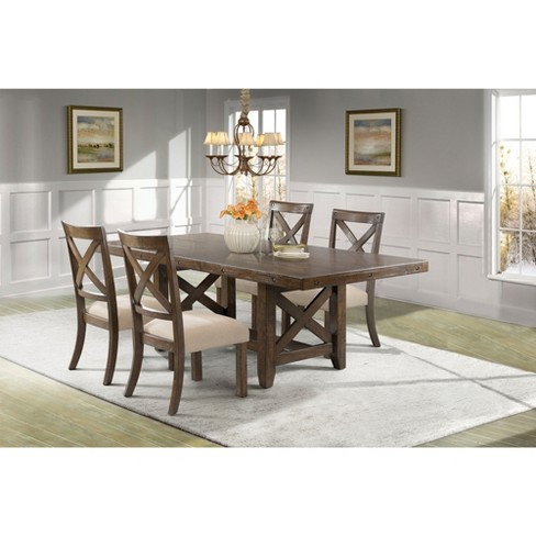 Francis 5pc Dining Set Table And 4 X Back Wooden Chairs Brown Picket House Furnishings