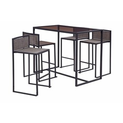 Liberty Garden Drake 5 Piece High Dining Patio Table and Chairs Set, Black