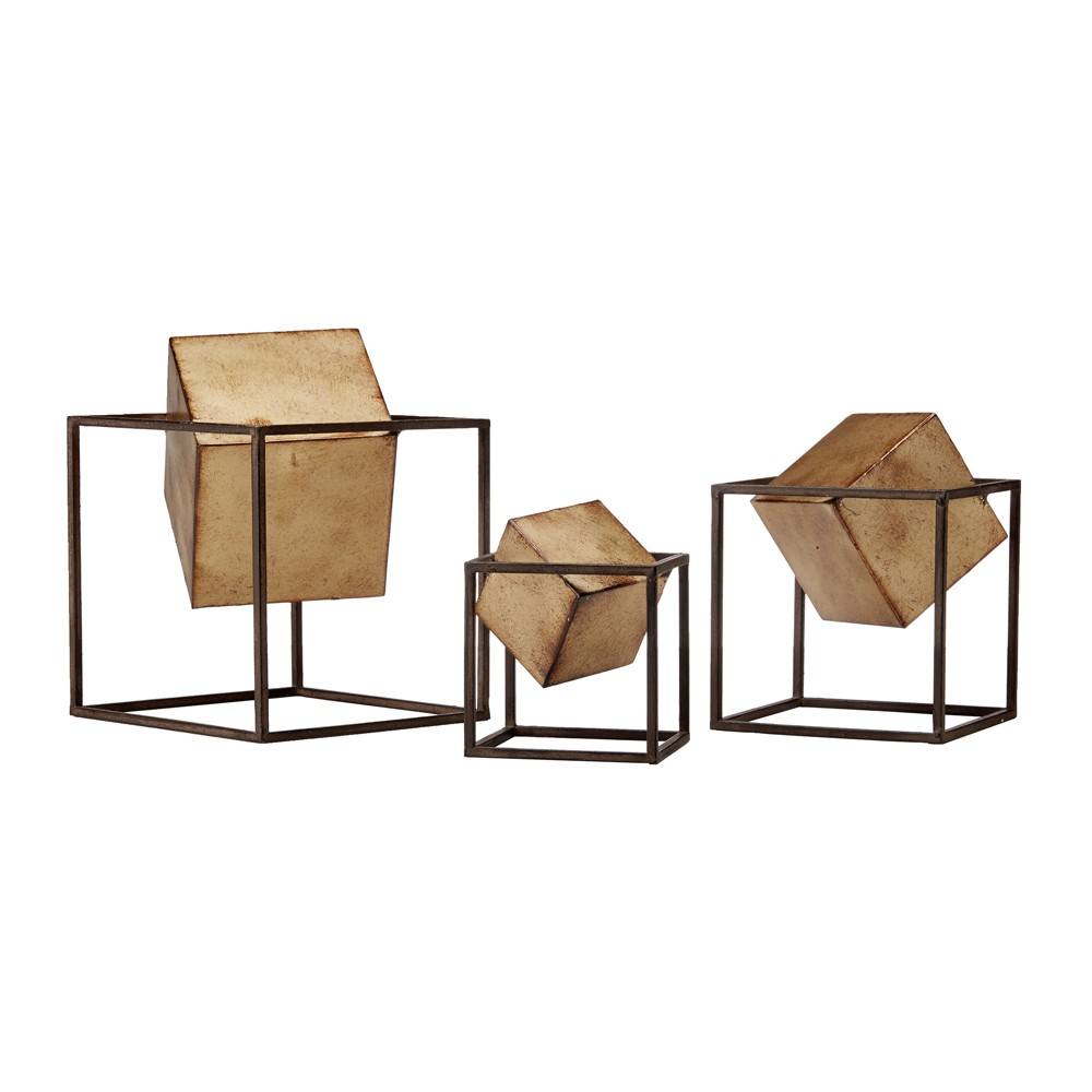 Image of Cube Décor Set 3ct - Black/Gold, Gold Black
