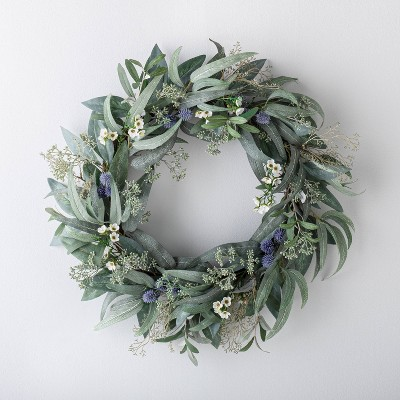 "26"" Artificial Eucalyptus and Berries Wreath Blue/Green - Threshold™ designed with Studio McGee"
