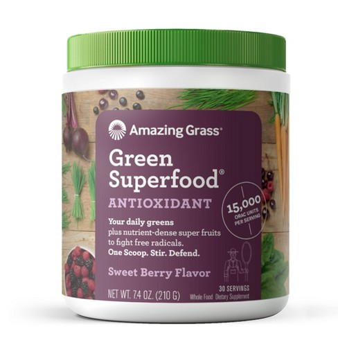 Amazing Grass Green Superfood Antioxidant Vegan Dietary Supplement Powder - Sweet Berry - 7.4oz - image 1 of 4