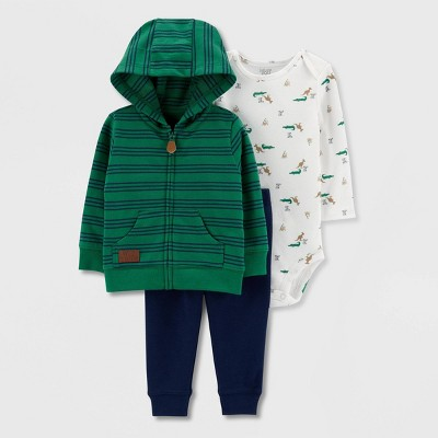Baby Boys' Stripe Hooded Cardigan Top & Bottom Set - Just One You® made by carter's Green 12M
