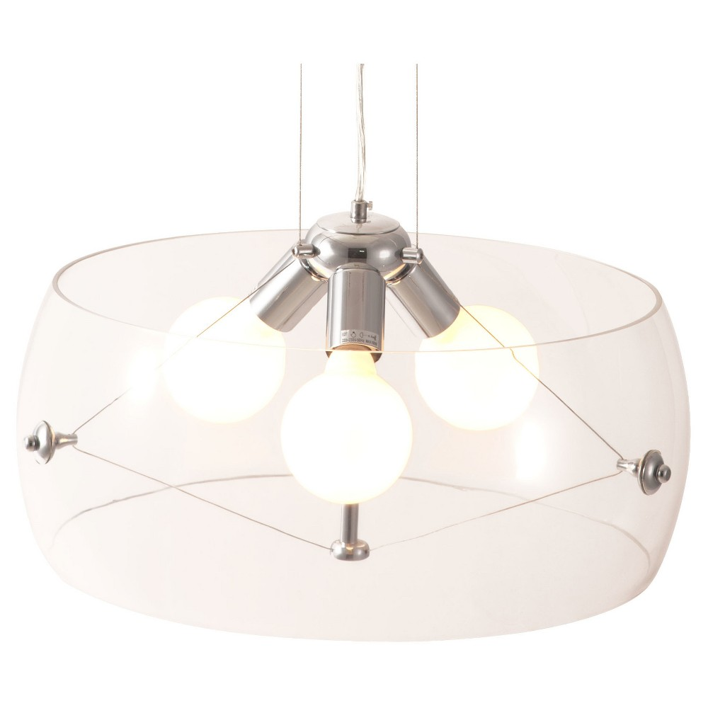 Modern Chrome and Glass Adjustable Ceiling Lamp - ZM Home, Clear