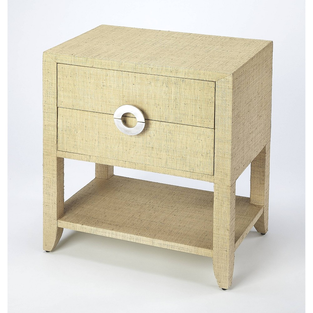 Image of Amelle Raffia End Table Beige - Butler Specialty