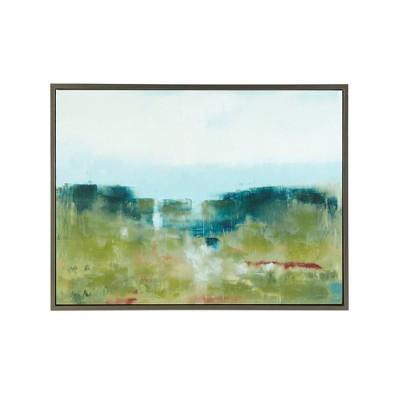 "40.5"" x 30.5"" Morning Fields Green Hand Embellished Framed Canvas Blue"