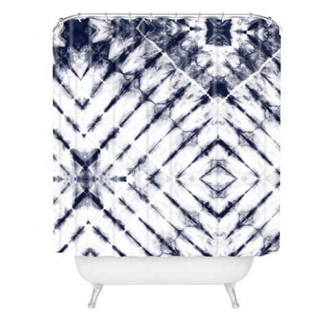 Little Arrow Design Co Shibori Shower Curtain White - Deny Designs - image 1 of 2