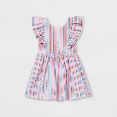 Toddler Girls' Seersucker with Stars Ruffle Sleeve Dress - Cat & Jack™ Red/White/Blue