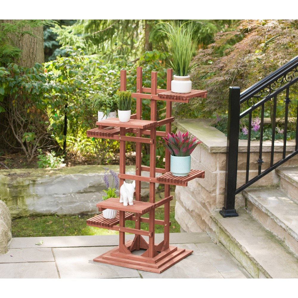 Image of 60 H Novelty Wood Planter Stands And Holders - Brown - Leisure Season