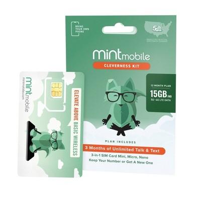Mint Mobile 12 Month 15GB/mo Plan SIM Kit