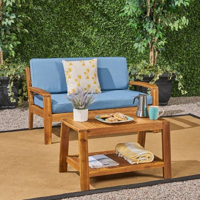 Grenada 2pc Acacia Wood Patio Chat Set - Christopher Knight Home