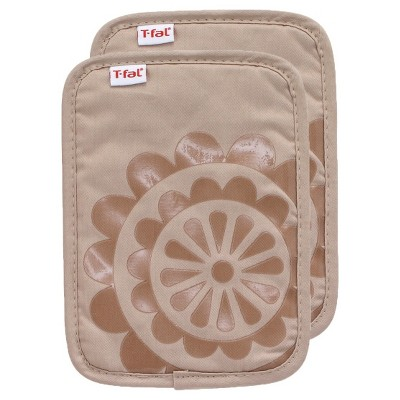 Tan Medallion Silicone Pot Holder 2 Pack (6.75 x9 )T-Fal