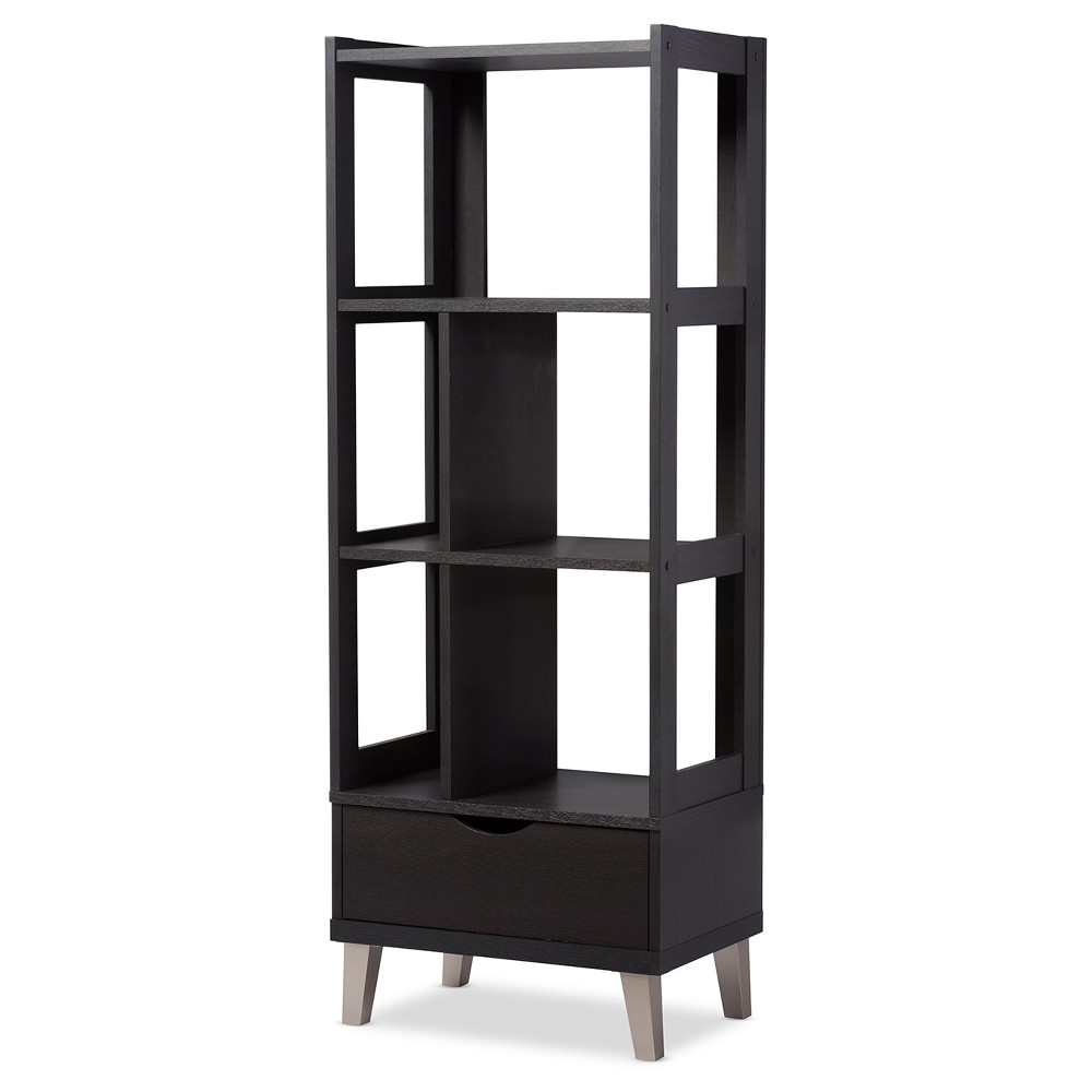 62 4 Kalien Modern and Contemporary Bookcase with Display Shelves and 1 Drawer Baxton Studio