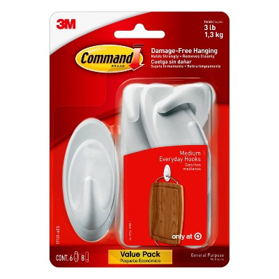 Command Medium Sized Designer Hooks Value Pack White