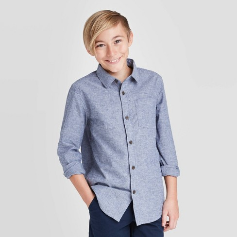 Boys' Long Sleeve Chambray Button-Down Shirt - Cat & Jack™ Navy - image 1 of 3