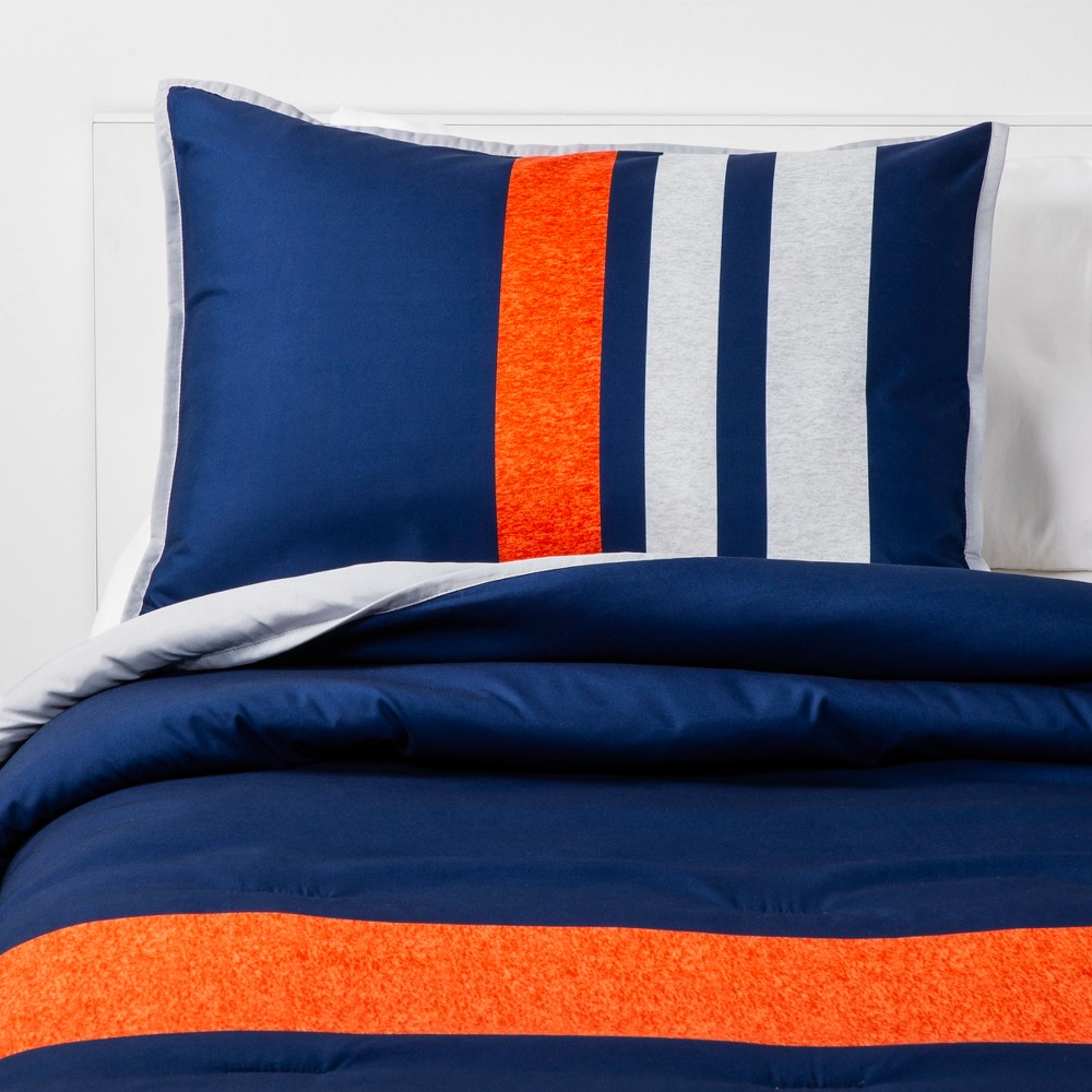 Image of 3pc Full/Queen Athletic Striped Microfiber Comforter Set Navy - Pillowfort, Blue