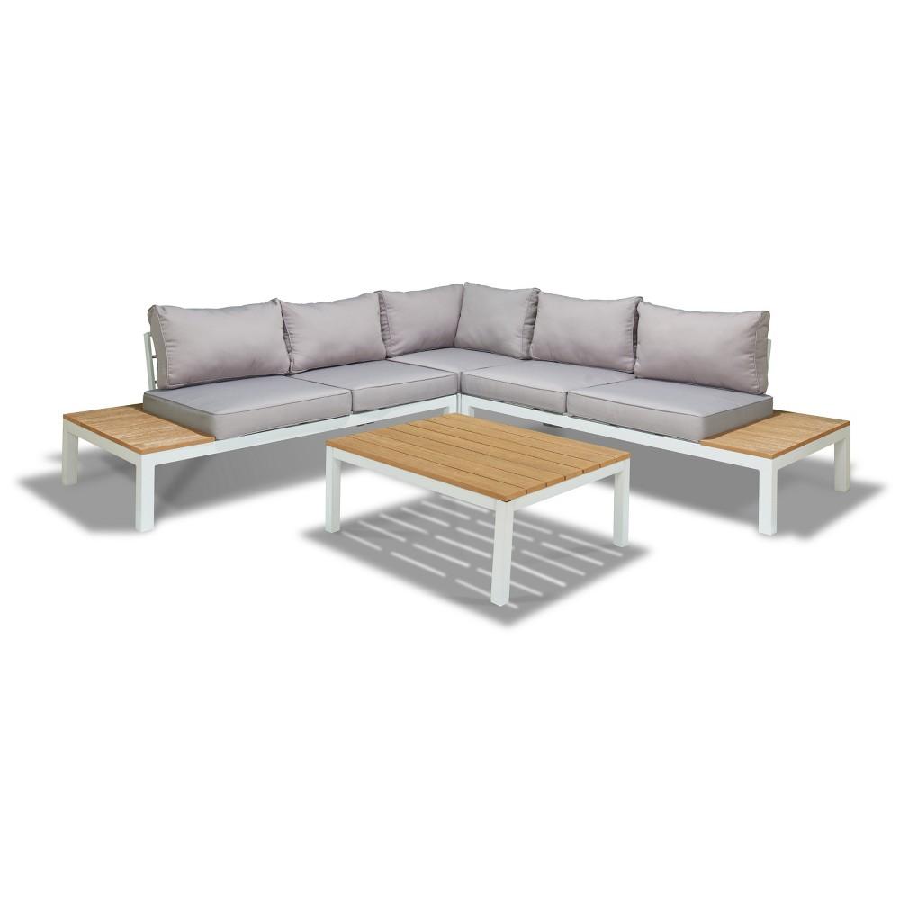 Celio 4pc Wood Patio Sectional Set - White - The-Hom