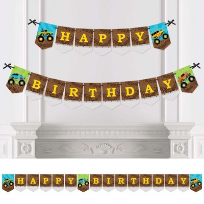 Big Dot of Happiness Smash and Crash - Monster Truck - Boy Birthday Party Bunting Banner - Birthday Party Decorations - Happy Birthday