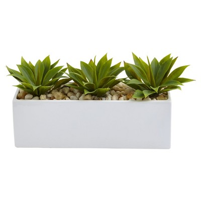Agave Succulent in Rectangular Planter - Nearly Natural