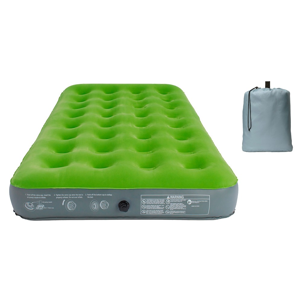 Single High Twin Air Mattress - Embark, Sugar Snap Looking for extra comfort on your camping trip or for your overnight guest? This Embark Twin Airbed can handle any sleeping need. Get a restful night of sleep with this airbed's coil beam construction. And flocked sleeping surface, so sheets still in place throughout the night. After use, the airbed can be quickly deflated and placed into carry bag for easier transport and storage. Important: It is normal for air beds to stretch and decrease in air pressure during the first several uses (your airbed is not leaking). Simply add air to your desired firmness and the air pressure will stabilize over time. Open air beds cannot be returned, but may be exchanged for a similar item. Color: Sugar Snap. Gender: Unisex.