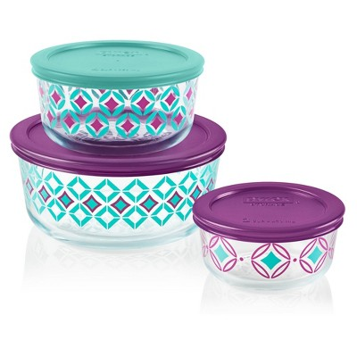 Pyrex 6pc Glass Round Decorated Food Storage Container Set - Diamonds