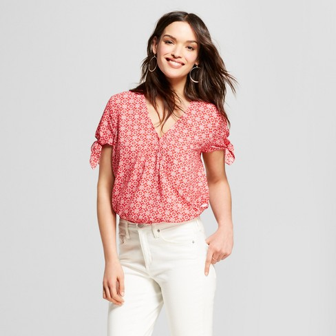 042d697f87bc Women's Short Sleeve Wrap Front Top - Universal Thread™ Red. Shop all Universal  Thread. kaitlynmlane Yesterday's date night outfit!