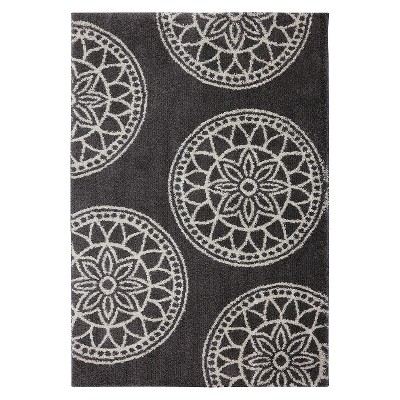 5'x7' Home Medallion Shag Area Rug Gray - Mohawk