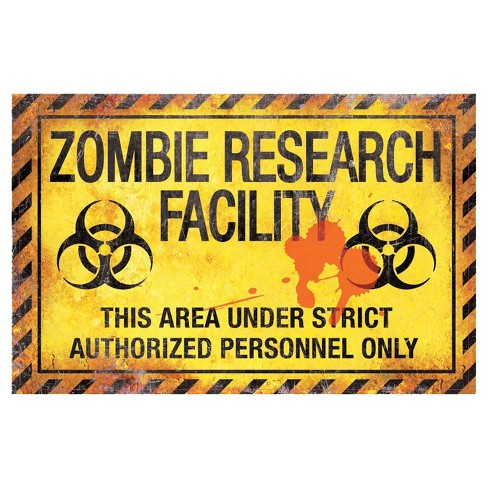 "16.9 ""Halloween Zombie Research Facility Metal Sign - image 1 of 1"