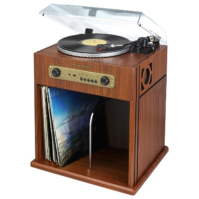Studebaker Bluetooth Stereo Turntable with Record Storage Compartment - Brown (SB6059)