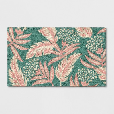 Teal Green/Pink Leaf Doormat 1'6 X2'6  - Opalhouse™