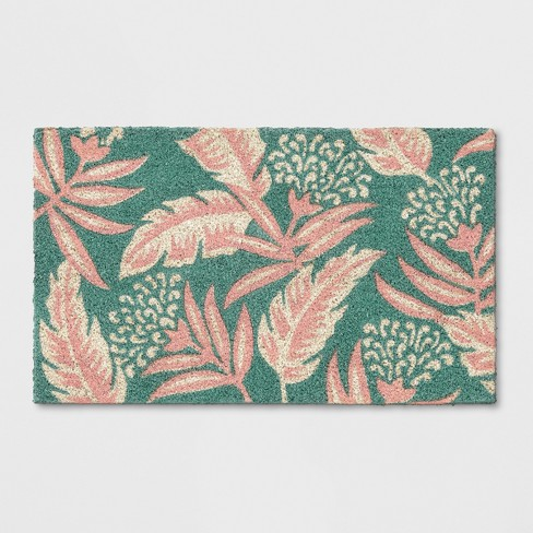 "Teal Green/Pink Leaf Doormat 1'6""X2'6"" - Opalhouse™ - image 1 of 3"