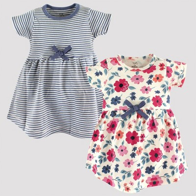 Touched by Nature Baby Girls' 2pk Striped & Floral Organic Cotton Dress - Blue/Pink 9-12M