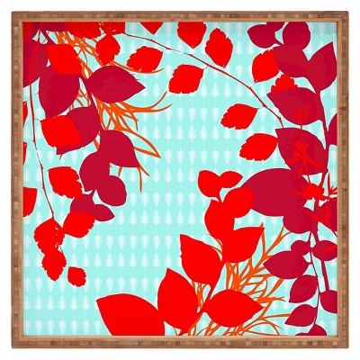 Caroline Okun Petiole Square Tray - Red - Deny Designs