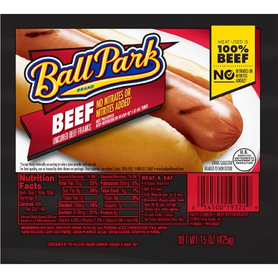 Ball Park Uncured Beef Franks - 15oz/8ct