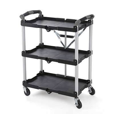 Olympia Tools 85-188 Pack N Roll 3 Tier Collapsible Storage Rolling Service Cart w/ 150 Pound Load Capacity & Swivel Caster Wheels for Easy Transport